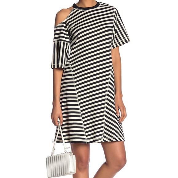 c099e472c304 Grey Jason Wu Dresses   Cold Shoulder Stripe Dress Size M   Poshmark